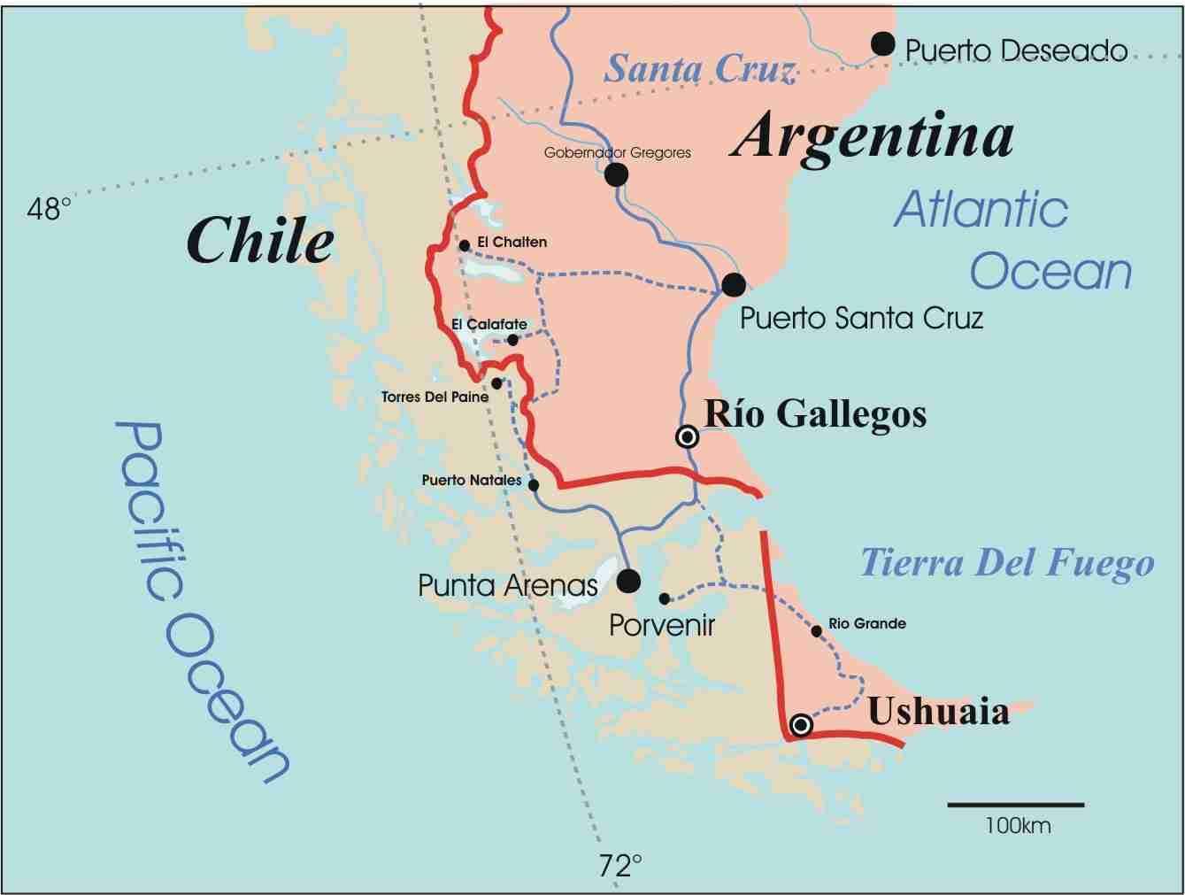 Karte Anzeigen.Patagonien Chile Landkarte Karte Von Patagonia Chile South