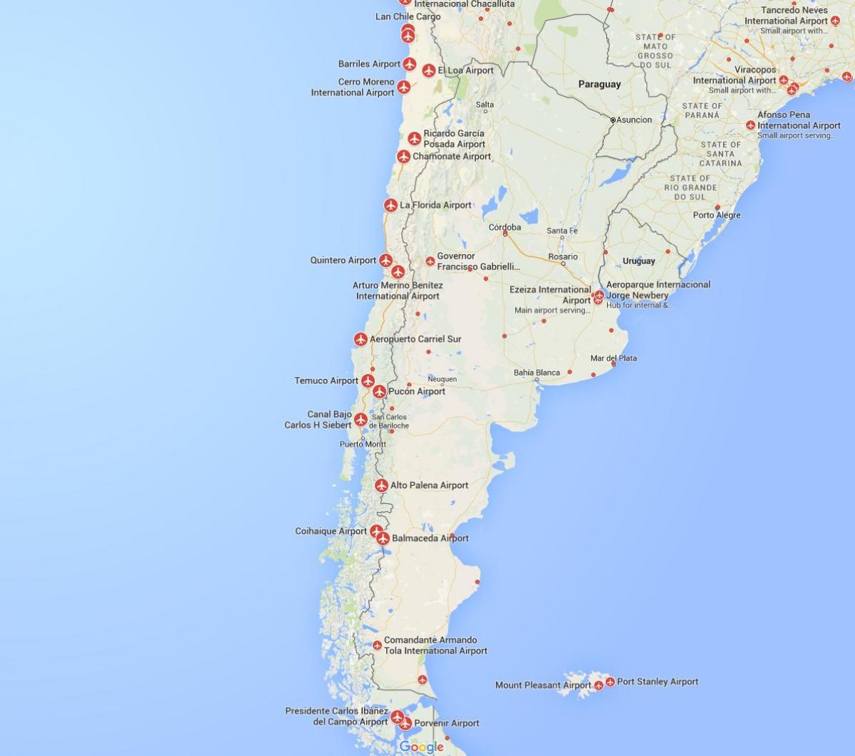 Karte Anzeigen.Chile Flughafen Karte Karte Der Flughafen In Chile South